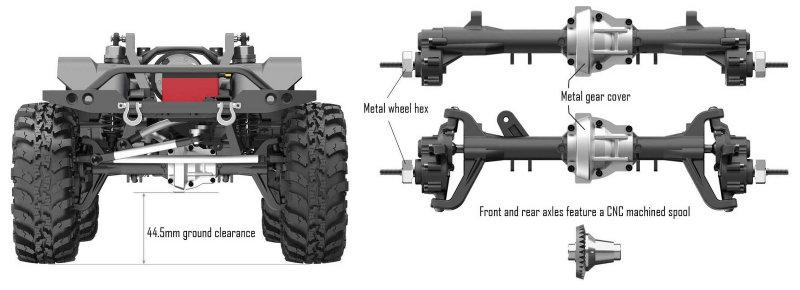 Ejes de pórtico y altura del chasis del Redcat Racing Gen 8